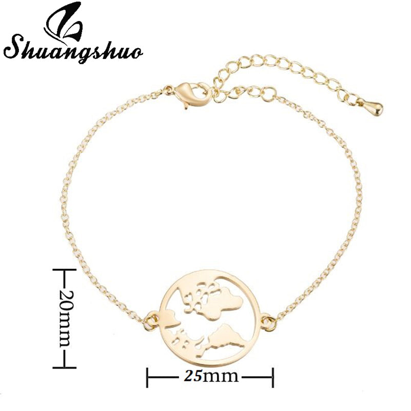 Shuangshuo Chain Link World Map Bracelets Bangles Jewelry Globe