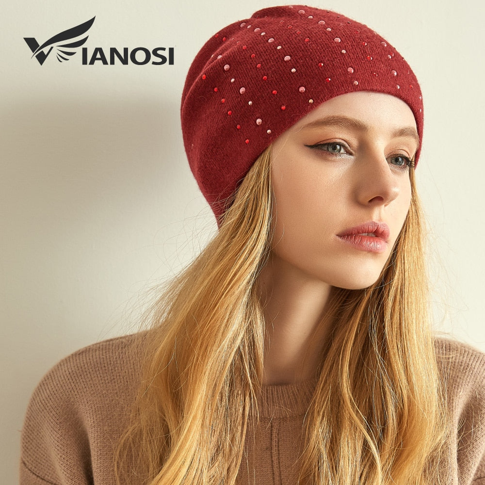VIANOSI Winter Wool Hats for Women High Quality Knitted Brand Hat Cap Warm  Chunky Thick Stretchy ... d6f1d9a871c