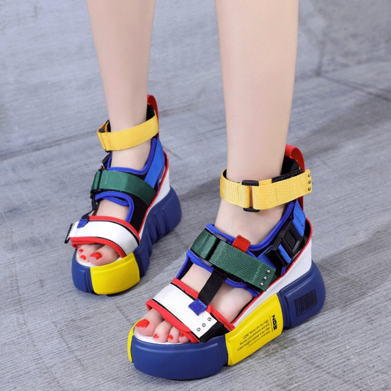 30279441c SWYIVY platform sandals for woman blue wedge high heel chunky sandals