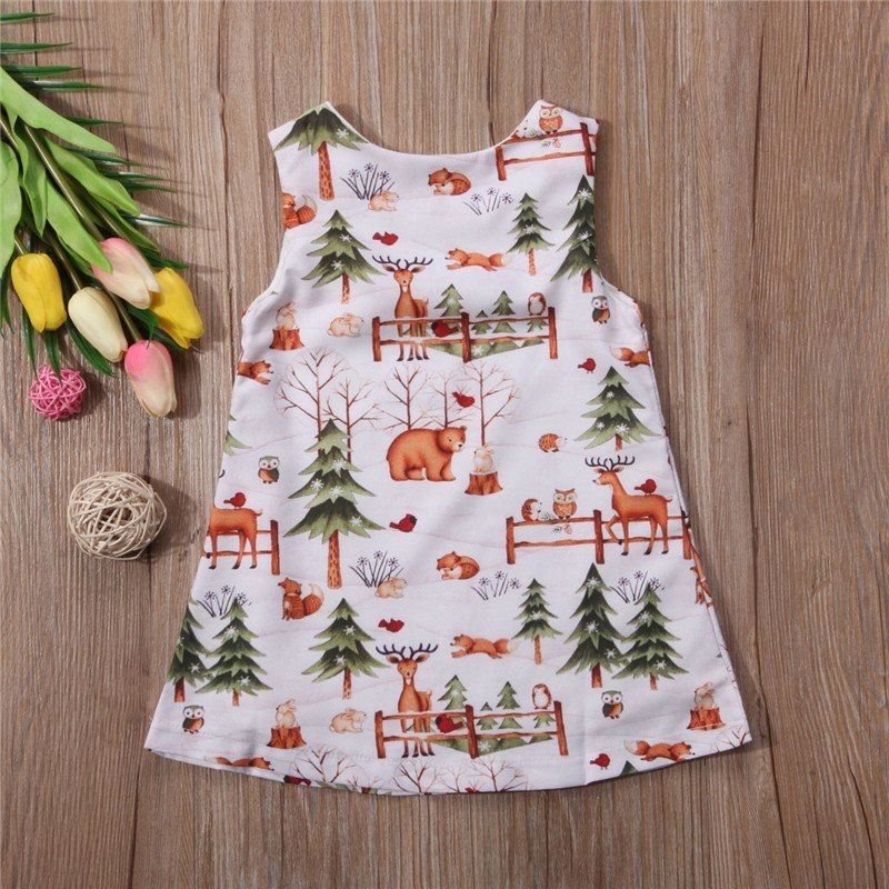 b6e07a0b4cc Santa Tree Deer Print Dress Baby Girls Dress Party Christmas Dresses  Sundress