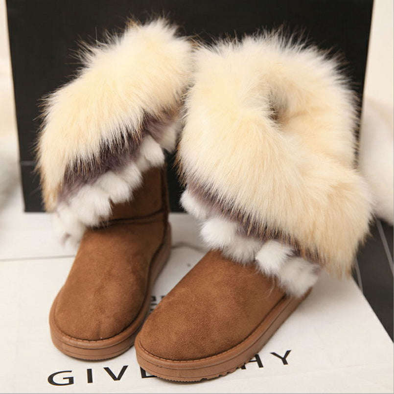 9f8ef40ed384 Z mid-calf boots winter plush snow boots women warm cotton pink flat shoes  female