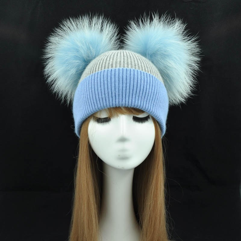 4e439a98e9d Real Fur Winter Hat Women Wool Cap Cashmere Angola 2 Two Fur Pom Pom Hat  Brand