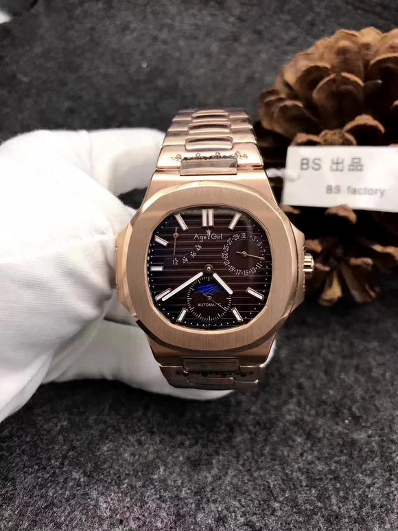 Luxury Brand New Automatic Mechanical Men Watch Sapphire Rose Gold Transparent Glass MoonPhase Watches Black Blue AAA+ Military