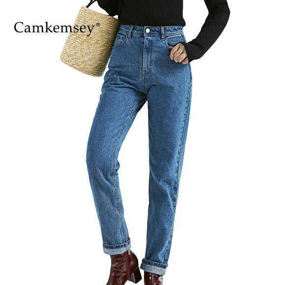 CamKemsey Classic High Waist Mom Jeans Woman Plus Size Autumn Winter Denim Jeans Female Casual Harem Pants Trousers