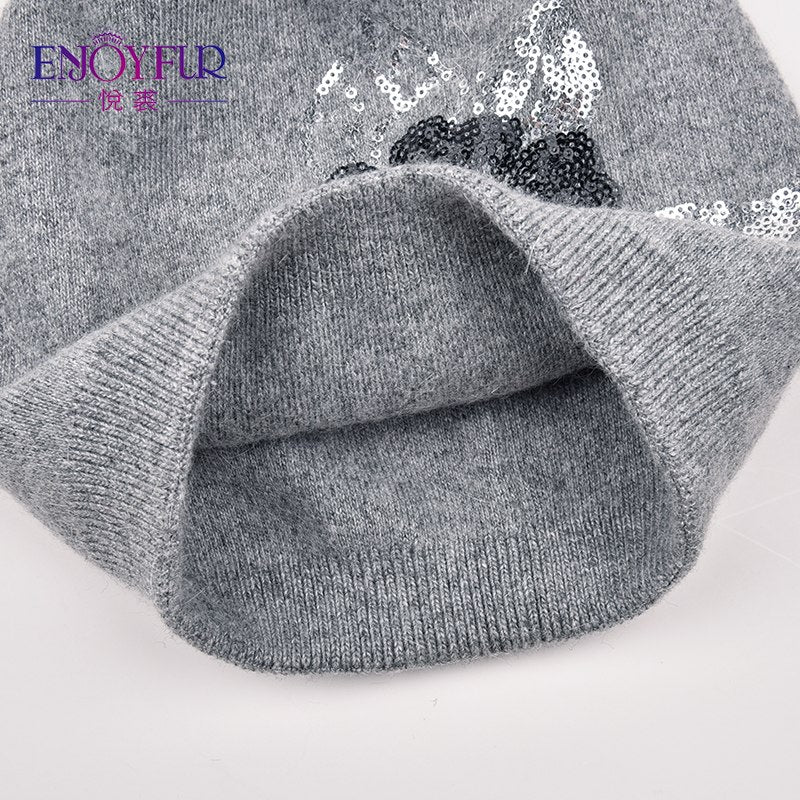 620766ba3ee ENJOYFUR Sequins Embroidery Knitted Hat Female Floral Wool Winter Hats  Women s Cashmere Gravity Falls Cap Girl