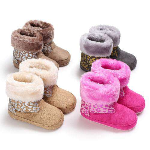 8fe6bd44114f3 0-18M Cute Newborn Baby Girl Boy Winter Fur Warm Shoes Soft Sole Cotton Snow