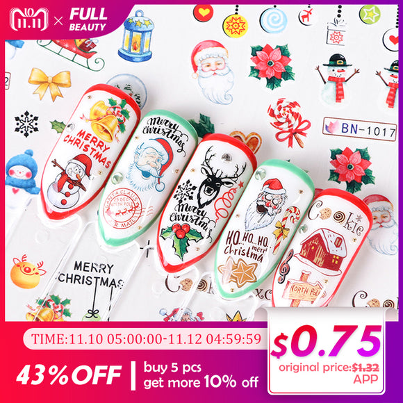 12 designs Xmas New Year Gift Water Transfer Tips Nail Art Sticker Decals Christmas DIY Decor Manicure Styles A1165-1176/BN-Zodeys-A1129-1140-Zodeys