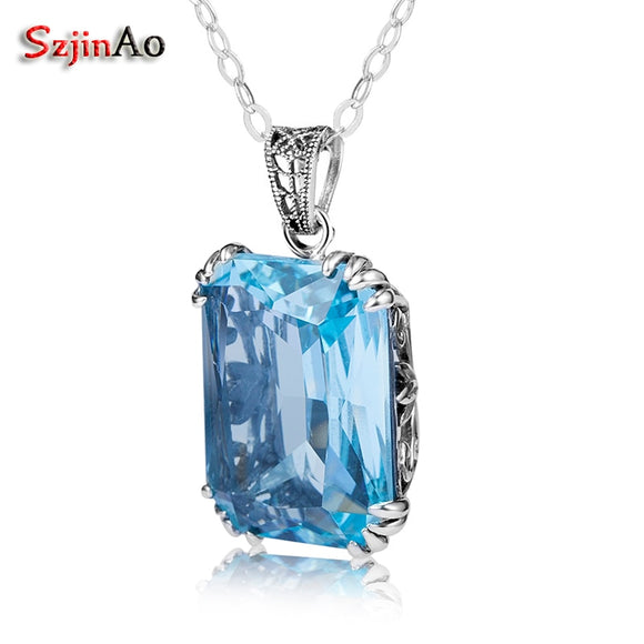 Szjinao Rectangle Vintage Charm Stone Pendant Suspension Femme Bohemian Italy Aquamarine 925 Sterling Silver Jewelry for Women