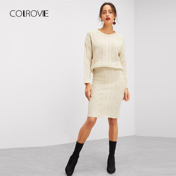 COLROVIE Beige Eyelet Knitted Sweater Top & Skirt Suit Women Winter Two Piece Set 2018 Autumn Outfit Elegant Warm Women Clothes