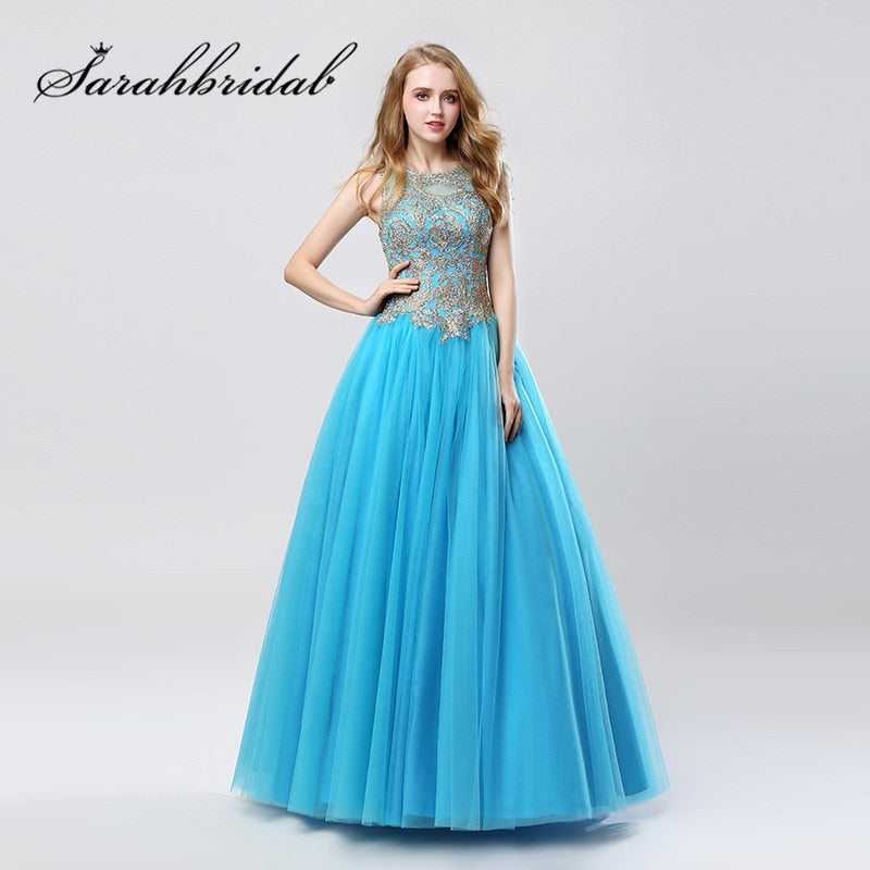 Turquoise Blue Prom Dresses 2019 Jewel Neck with Embroidery Sexy Backless  Floor Length Sweet Party Evening ebb8f81e4988