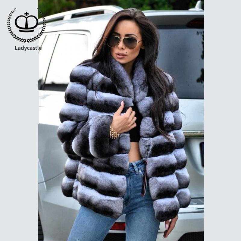 11573209c7d 2018 New Real Chinchilla Rex Rabbit Fur Coat Stand Collar Fur Coat From  Natural Jacket Winter
