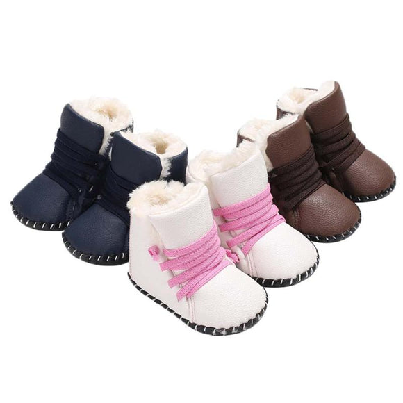 Winter Baby Boots Toddler Shoes Prewalker Warm Infants PU Leather Soft Sole Boots Baby Moccasins Boy Girl Anti-slip Snow Booties