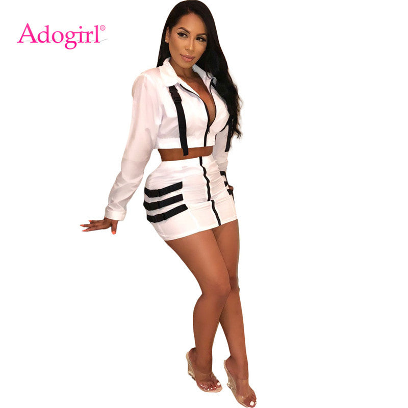 3fda347711e Adogirl Solid White Women Tracksuit Buckle Turn Down Collar Long Sleeve  Zipper Crop Top Shirt Mini