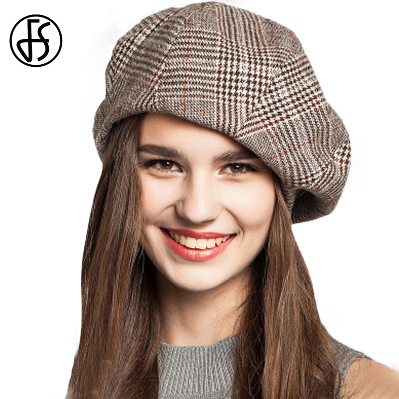 21c3015538a44 FS French Artist Beret Hat For Women Female Winter Fashion Black Blue Brown  Plaid Wool Thick