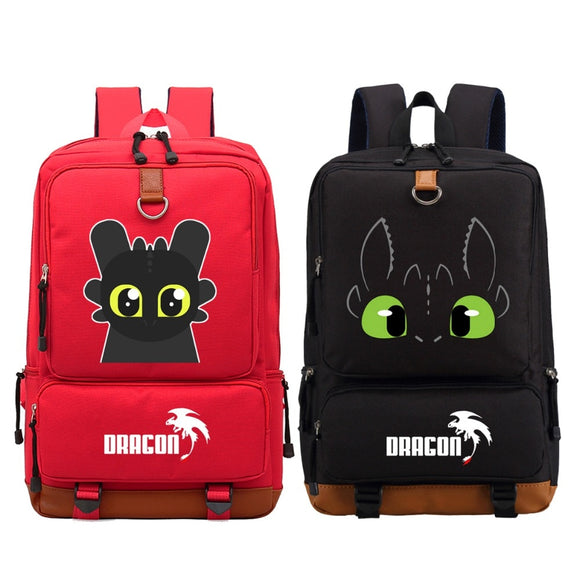 WISHOT How to train your dragon Backpack Shoulder travel School Bag Bookbag for teenagers men women Casual Laptop Luminous Bags