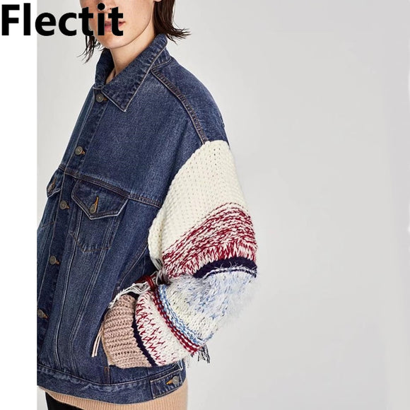 Flectit Womens Contrast Denim Jacket with Long Knitted Sleeve Fringed Jeans Jackets Oversize Denim Coat Fall Winter 2018