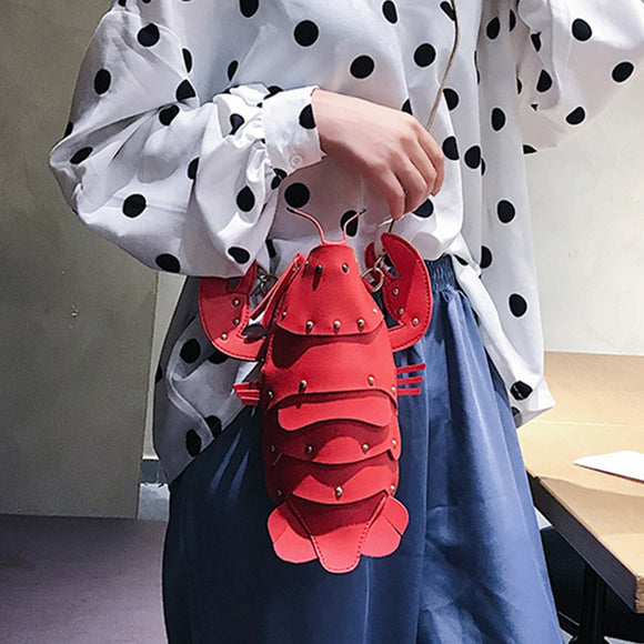 Ins Fun Women Shoulder Messenger Bag Designer PU Leather Crayfish Rivet Crossbody Chain Bag Cute High Quality Travel Small Bag
