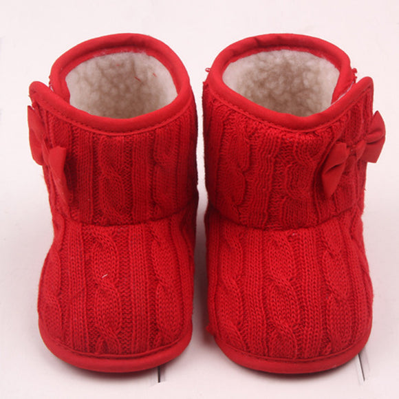 Baby Girls Snow Boots Knit Bowknot Faux Fleece Booties for Toddler Newborn infant Kids Wool Baby Winter Warm Shoes 0-18 Months