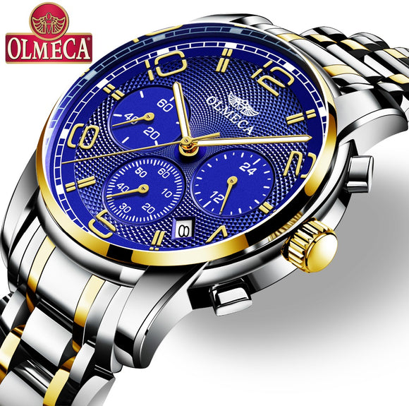 Men's Watch OLMECA Brand Quartz Military Watches Relogio Masculino Water Resistant Wrist Watch Chronograph Watches for Men