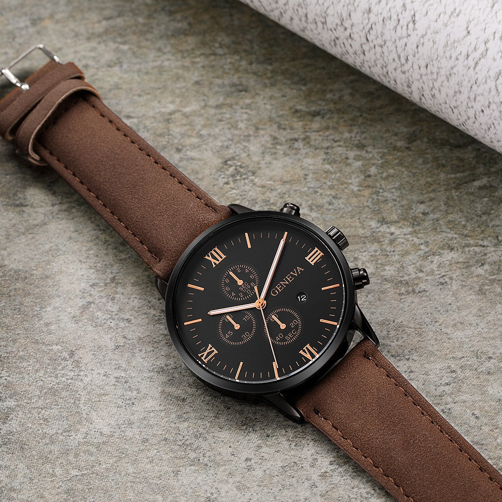 Watches Quartz Watches Ultra-thin Fashion Men Date Alloy Case Synthetic Leather Analog Quartz Sport Watch Mens Watches Top Brand Luxury Masculino Reloj
