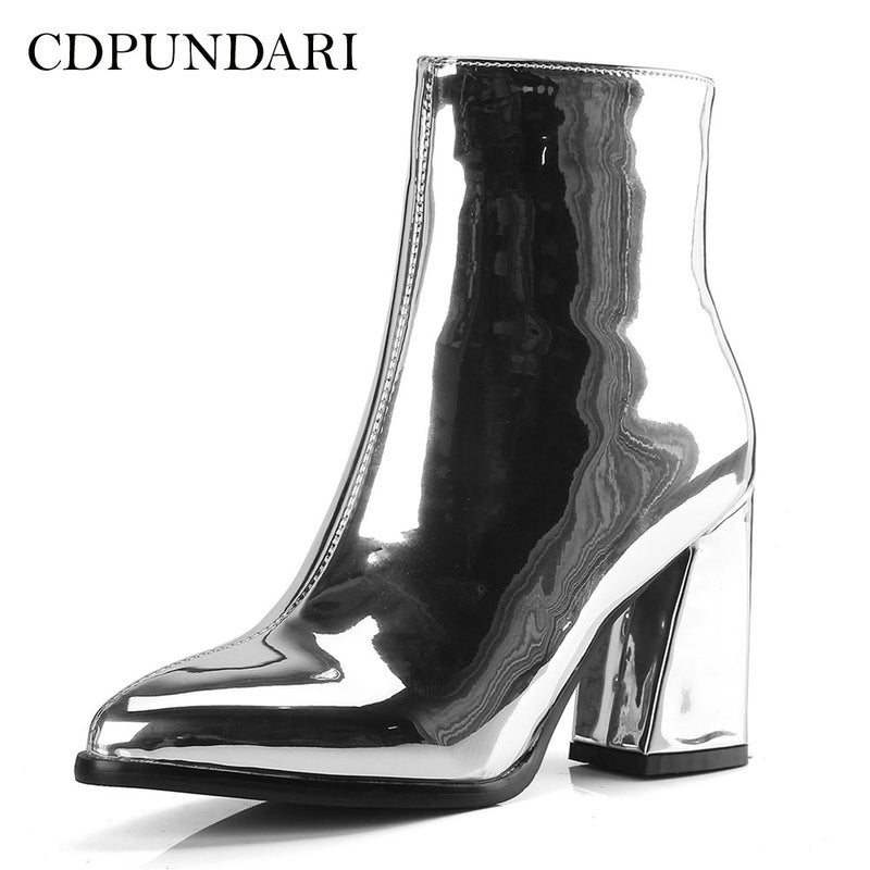 65c26859f3f CDPUNDARI Silver Black Ankle boots for Women High heel boots Ladies Winter shoes  woman Gold Purple