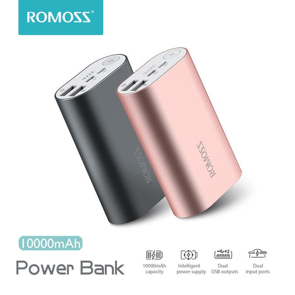 ROMOSS ACE A10 10000mAh Power Bank Dual USB Outputs Aluminum Alloy External Battery Pack  For iPhone 7 7plus Tablets Smartphone
