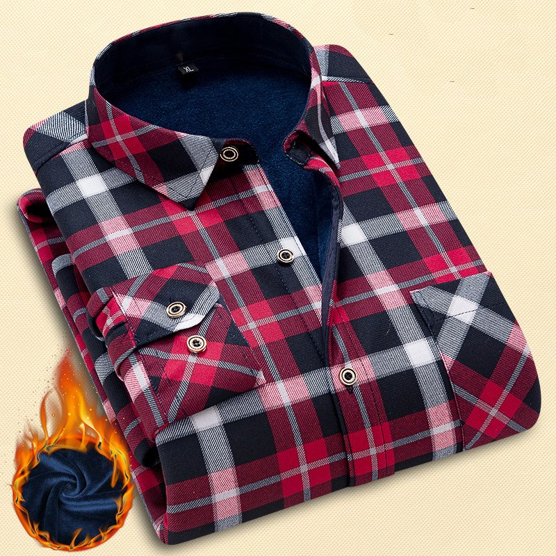 Quality Winter Warm Plaid Casual Men S Shirt Long Sleeves Shirts Men S
