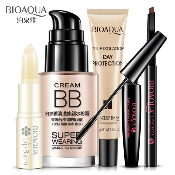 5pcs/set BIOAQUA Cosmetics Makeup Set Lip Balm BB Cream Eyebrow Pencil Mascara Cream Beauty Gift Sets Women Gifts Set Skin Care-Makeup-Zodeys-123-Zodeys