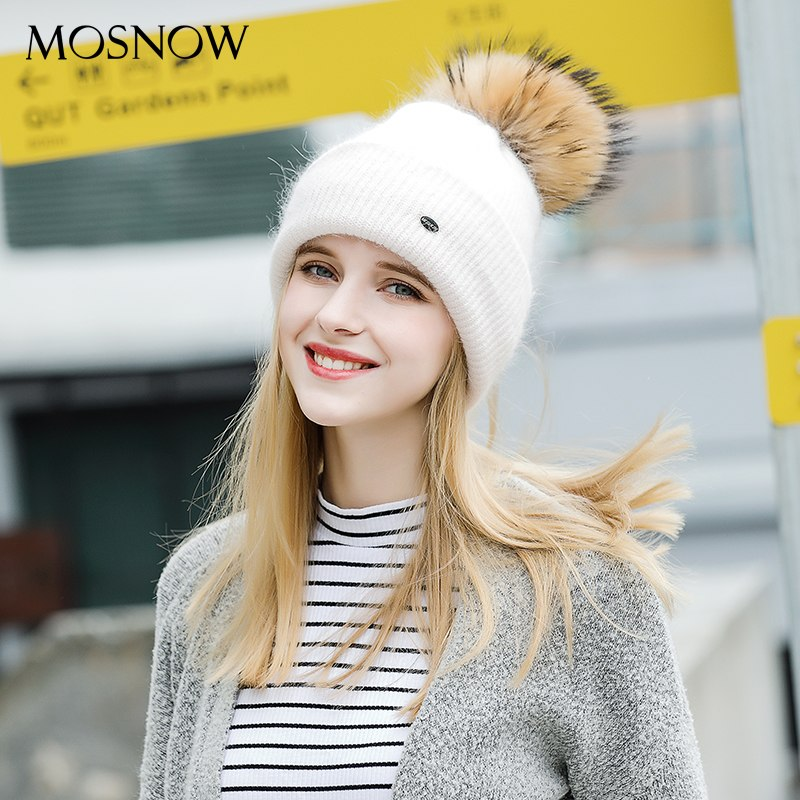 6d6223aeb33 MOSNOW Winter Hats For Women Knitted Women Wool 2018 Fashion New Fur Pompom  High Quality Beanie