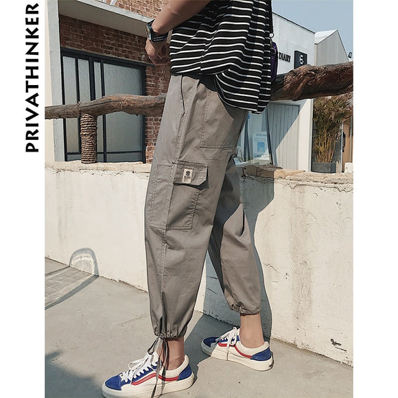 Privathinker Man Summer Casual Overalls Mens Oversized Jogger Haren Pants Male Ninth Cargo Pants Trousers Harajuku 2018