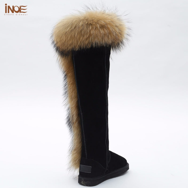 9ab7a35241b INOE real fox fur over the knee thigh suede long winter snow boots for  women real