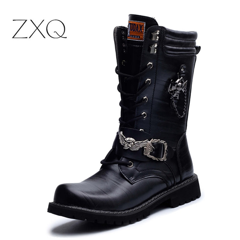 NEW 2017 Personality Men s boots Punk Boots Black Male High-Top Shoes  Fashion Motorcycle Boots 281064663fed