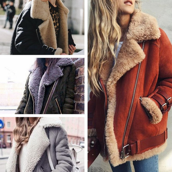Faux Shearling Coats Women Thick Suede Biker Jackets Women Autumn Winter Lambs Wool Short Motorcycle Coats Plus Size 3XL 4XL 5XL