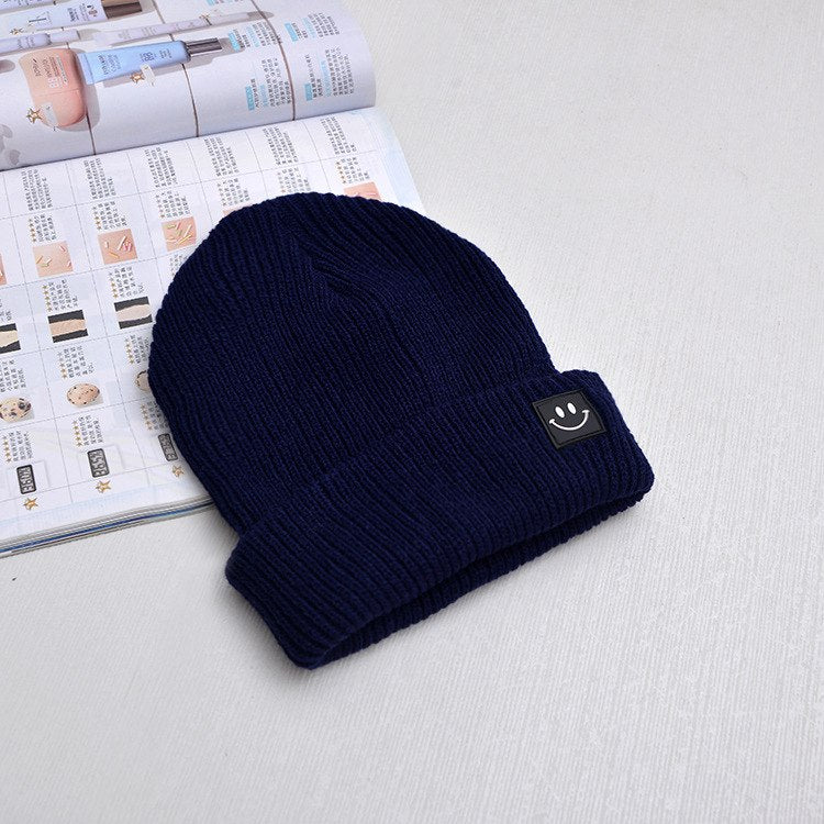 7dced84caf9 Cute Smile Crochet Knit Cap Beanie 2018 Autumn New Solid Warm Skullies Beanies  Caps Female Knitted