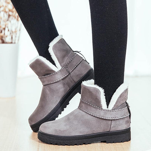 Women Boots 2018 Hot Plush Snow Boots Women Ankle Boots Winter Female Flats Shoes Solid Booties Woman Winter Boots Plus Size 44-Boots-Zodeys-Beige-10-Zodeys