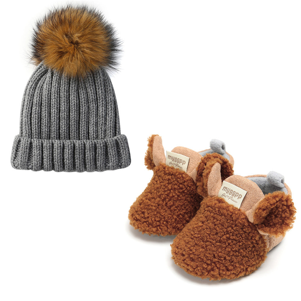 2018 Warm Baby Boots Fashion Lamb Winter Baby Boy Shoes Cute Knitting Hat +  Animal Ears 046a7281fffc