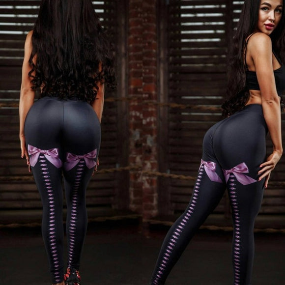 Women Sexy Bowtie Printed Fitness Leggings High Waist Push Up Legging Activewear Workout Black Leggings Stretch Leggins