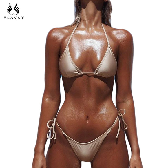 PLAVKY 2018 Ladies' Sexy Gold String Biquini Swim Beach Wear Bathing Suit Swimsuit Thong Swimwear Women Brazilian Push Up Bikini