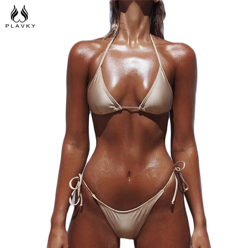 7e63312d5883c PLAVKY 2018 Ladies  Sexy Gold String Biquini Swim Beach Wear Bathing Suit  Swimsuit Thong Swimwear