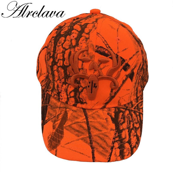 Hunting Orange Realtree Camouflage Cap With Deer Adjustable Baseball Hat Tactical Outdoor Camo Cap For Men and Women