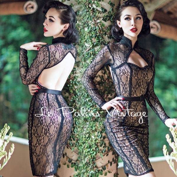 FREE SHIPPING Le Palais Vintage limited edition Retro Black Lace Sexy  backless dress tight low cut 8a681cdc2