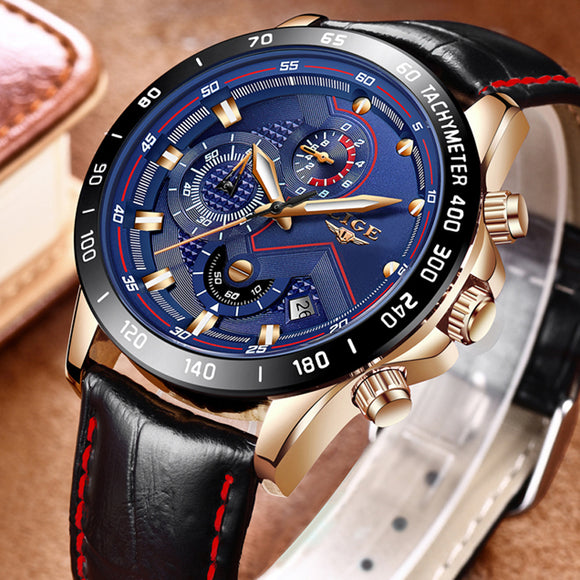 2018 New LIGE Mens Watches Top Luxury Brand Fashion Gold Quartz Watch Men Leather Military Sport Waterproof Watch Relojes Hombre