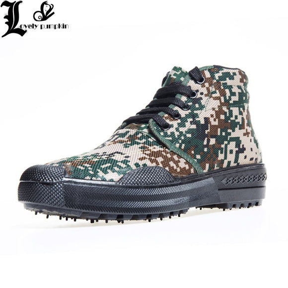 Camouflage High Tube Canvas Rubber Sole Training Shoe Men Outdoor Hiking Hunting Climbing Walking Military Combat Tactical Boots