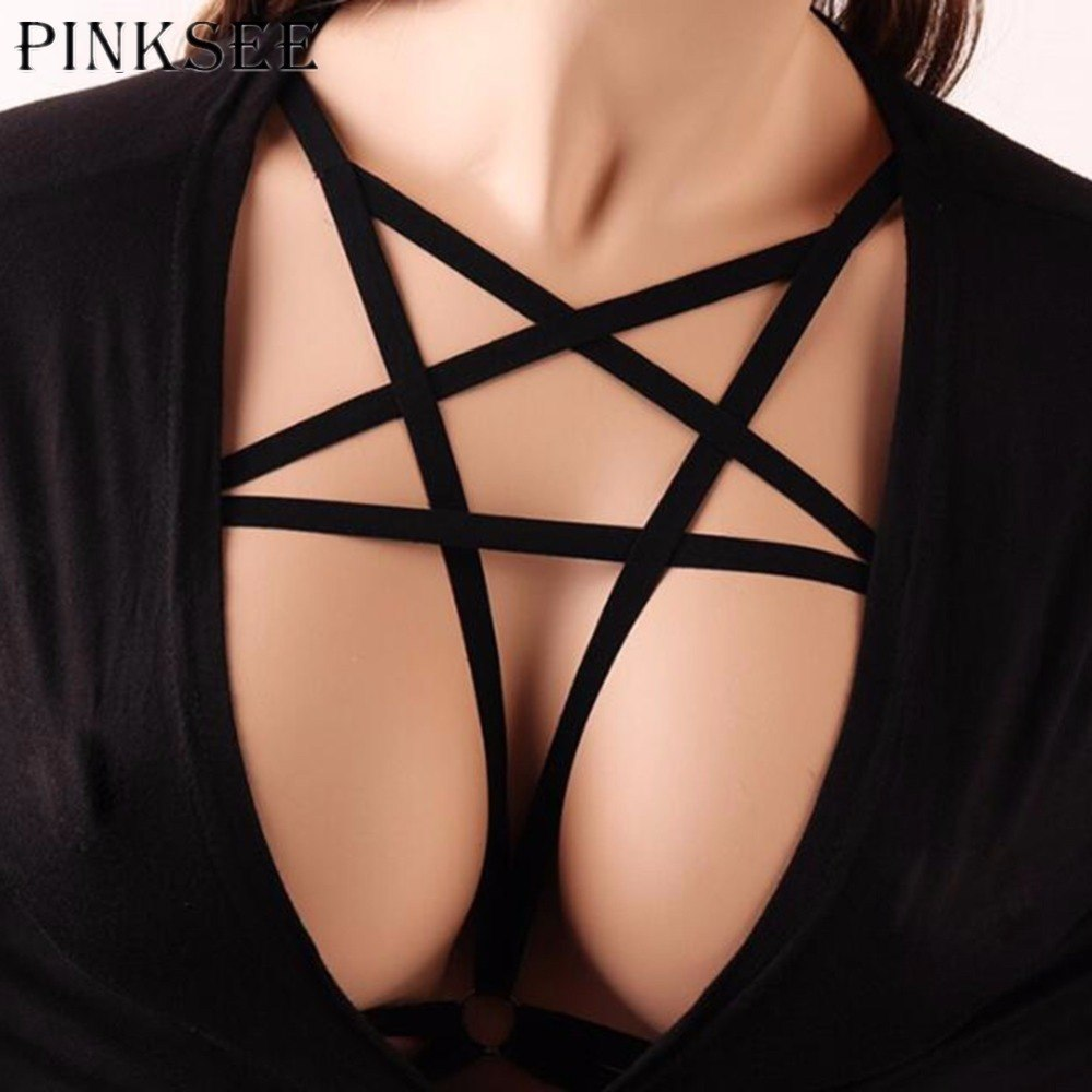 12cd2955b0 PINKSEE Sexy Bralette Hollow Cage Harness Bandage Strappy Cross Bra Belt Lingerie  Push Up Crop Top