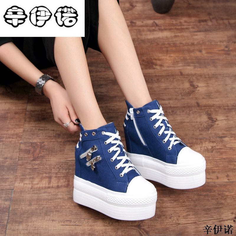 0bf3cf6834d7 12cm High Heels Shoes Casual Canvas Shoes platform Wedges High Top Lad