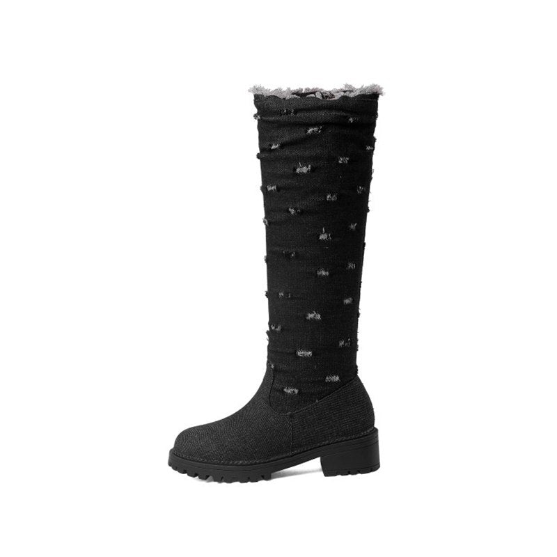 4b22f8f51b5 ORCHA LISA Plus Size 44 Jeans Boots demin knee boots Woman low thick heel  Warm winter