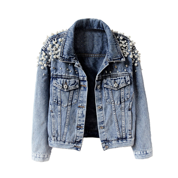 Top Quality womens Pearls Denim Jacket long sleeved Winter vintage denim Coat Beading Outfit Casacos Feminino Jeans Jacket