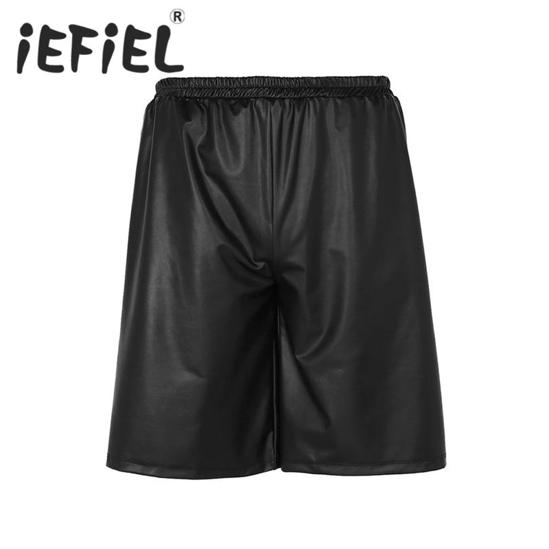 e0f50379703 iEFiEL New Arrival Summer Men Fashion Shorts Male Soft Faux Leather Side  Zippers Loose Plus Size