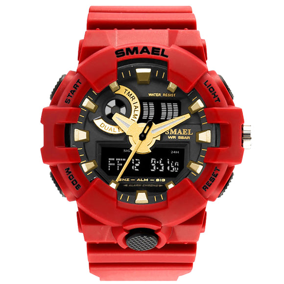 Red Men Wrist Watch Outdoor Sport Large Clock Led Digital Watches Dual Time Display Relogio Masculinos Luxury Military Saat Hot