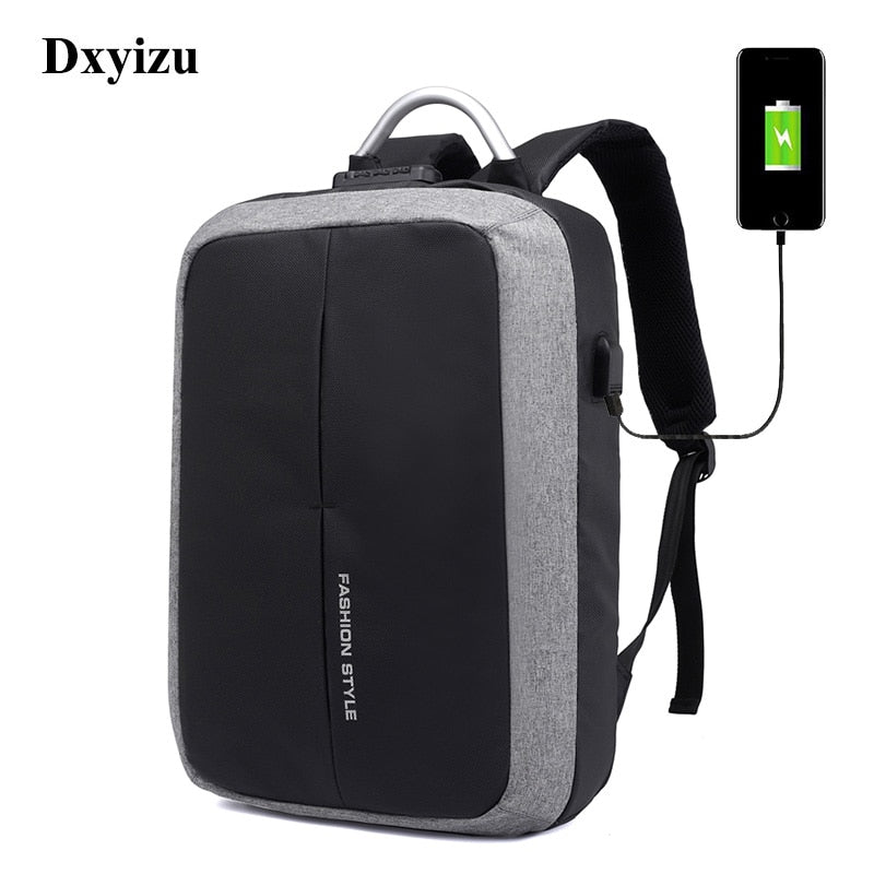 DXYIZU 2018 New Anti-thief USB Recharging Men Backpack Men Business Message  Male Laptop Backpack c873f185d812b